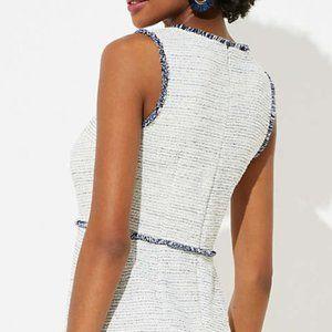 LOFT Fringe Boucle Flare Dress